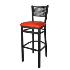 Polk Metal Perforated Back Barstool - Red Vinyl Seat