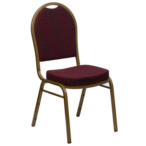 Our HERCULES Series Dome Back Stacking Banquet Chair in Burgundy Patterned Fabric - Gold Frame is on sale now.