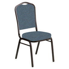 Embroidered Crown Back Banquet Chair in Ribbons Aqua Fabric - Gold Vein Frame