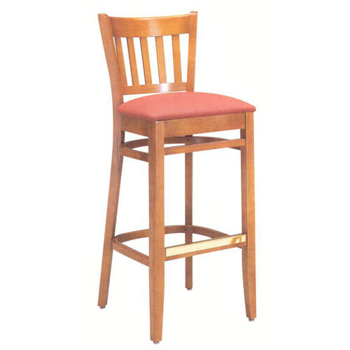 1850 Bar Stool w/ Upholstered Seat & Brass Trim Footrest - Grade 1