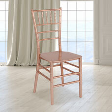 "HERCULES Series Rose Gold Resin Stacking Chiavari Chair with <span style=""color:#0000CD;"">Free </span> Cushion"