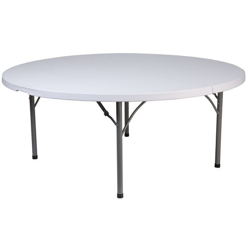 Our 5.89-Foot Round Granite White Plastic Folding Table is on sale now.