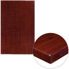 "30"" x 48"" Rectangular High-Gloss Mahogany Resin Table Top with 2"" Thick Edge"