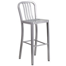 """Commercial Grade 30"""" High Silver Metal Indoor-Outdoor Barstool with Vertical Slat Back"""