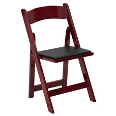 HERCULES Series Mahogany Wood Folding Chair with Vinyl Padded Seat
