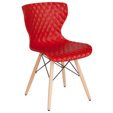 Bedford Contemporary Design Red Plastic Chair with Wooden Legs