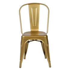 Oscar Steel Powder Coated Stackable Armless Chair - Gold