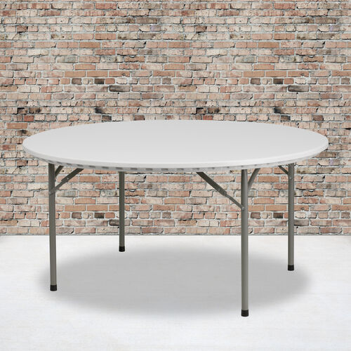 Our 5-Foot Round Granite White Plastic Folding Table is on sale now.