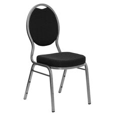 HERCULES Series Teardrop Back Stacking Banquet Chair in Black Patterned Fabric - Silver Vein Frame