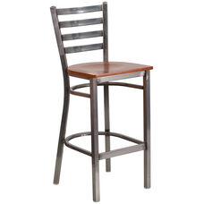 Clear Coated Ladder Back Metal Restaurant Barstool with Cherry Wood Seat