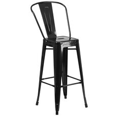 """Commercial Grade 30"""" High Black Metal Indoor-Outdoor Barstool with Removable Back"""