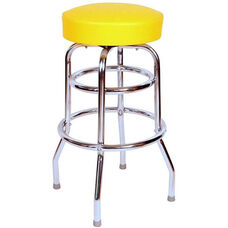 50's Retro Backless 30''H Swivel Bar Stool with Double Ring Chrome Frame and Padded Seat - Yellow Vinyl
