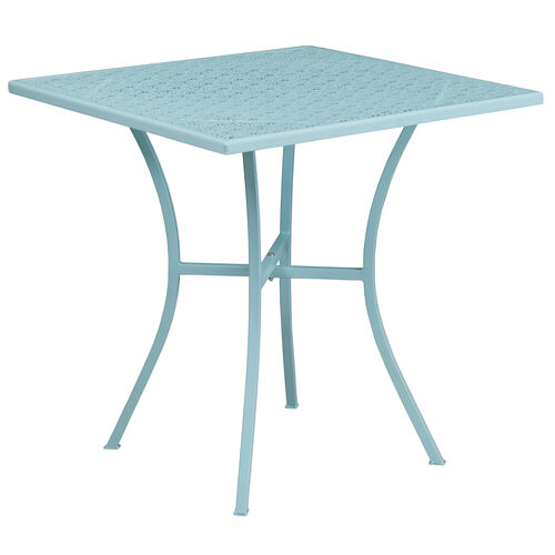 """Our Commercial Grade 28"""" Square Sky Blue Indoor-Outdoor Steel Patio Table is on sale now."""