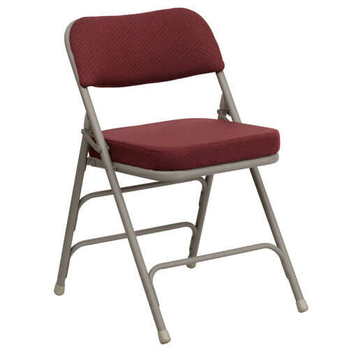 Our HERCULES Series Premium Curved Triple Braced & Double Hinged Burgundy Fabric Metal Folding Chair is on sale now.