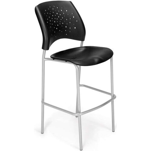 Our Stars Cafe Height Plastic Chair with Silver Frame - Black is on sale now.