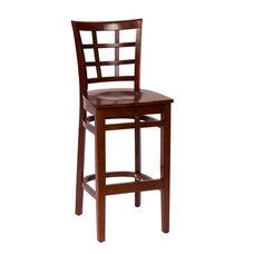Pennington Mahogany Wood Window Pane Barstool - Wood Seat