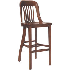 6891 Bar Stool w/ Slat Back & Wood Saddle Seat
