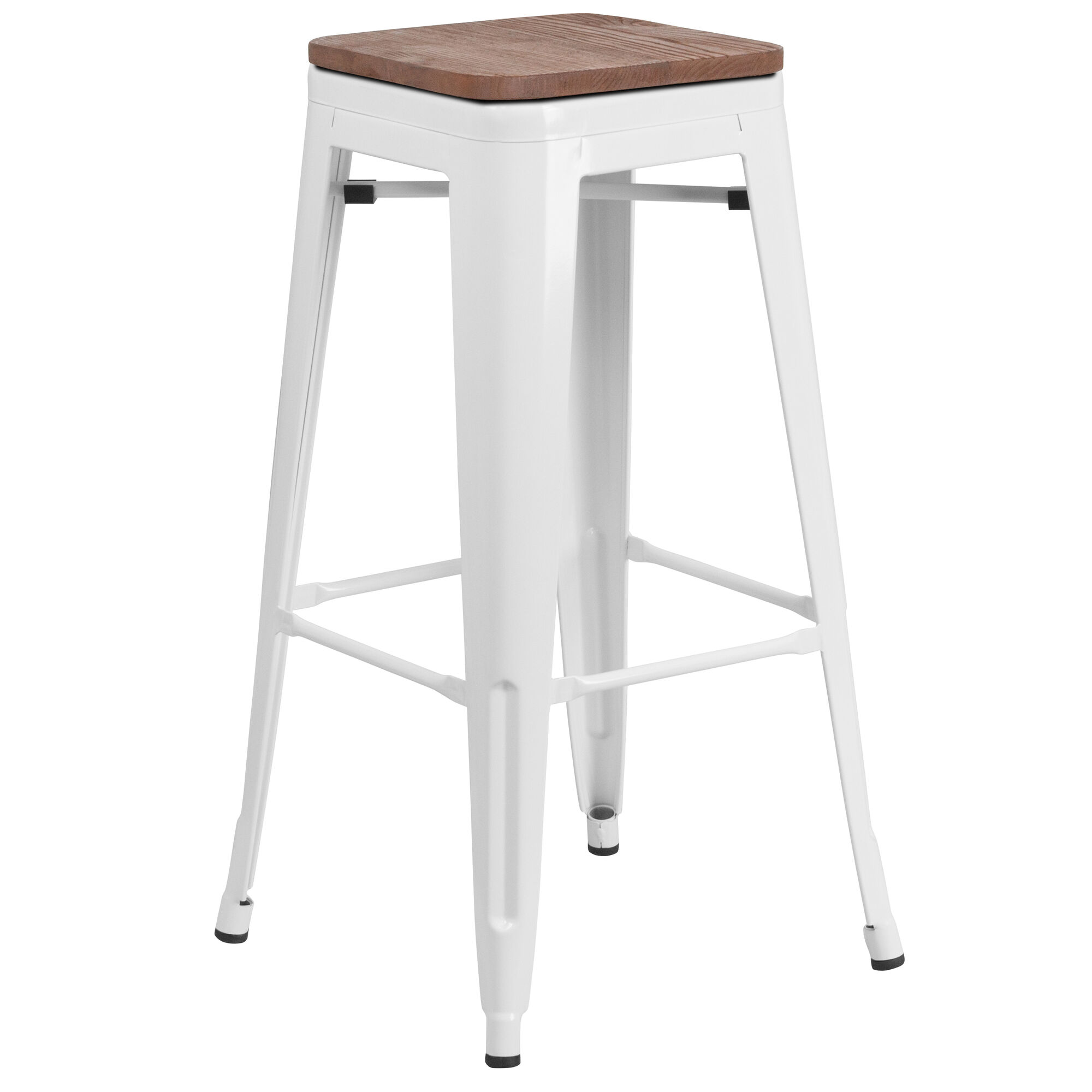 Astonishing 30 High Backless White Metal Barstool With Square Wood Seat Onthecornerstone Fun Painted Chair Ideas Images Onthecornerstoneorg