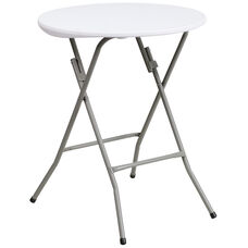 2-Foot Round Granite White Plastic Folding Table
