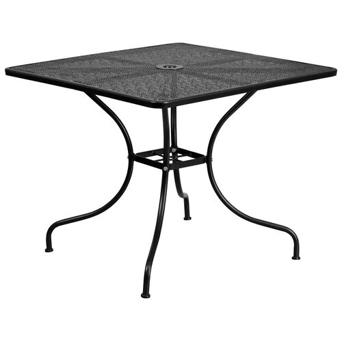 """Our Commercial Grade 35.5"""" Square Black Indoor-Outdoor Steel Patio Table is on sale now."""