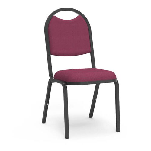 8900 Series Stack Chair with Round Back and Dome Seat in Sedona Ruby Fabric and Black Frame - 18