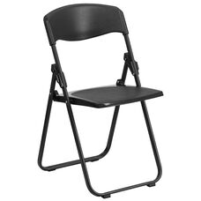 HERCULES Series 880 lb. Capacity Heavy Duty Black Plastic Folding Chair with Built-in Ganging Brackets