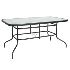 "31.5"" x 55"" Rectangular Tempered Glass Metal Table"