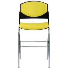 Eddy Chrome Bar Stool with Upholstered Back and Seat Pads
