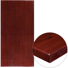 "30"" x 60"" Rectangular High-Gloss Mahogany Resin Table Top with 2"" Thick Edge"