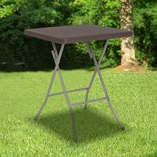 1.95-Foot Square Brown Rattan Plastic Folding Table