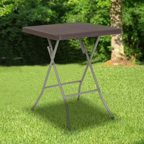 Our 1.95-Foot Square Brown Rattan Plastic Folding Table is on sale now.