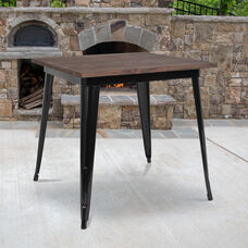 "31.5"" Square Black Metal Indoor Table with Walnut Rustic Wood Top"