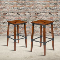 2 Pack Rustic Antique Walnut Industrial Wood Dining Backless Barstool