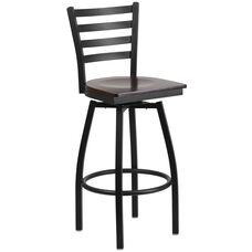 HERCULES Series Black Ladder Back Swivel Metal Barstool - Walnut Wood Seat