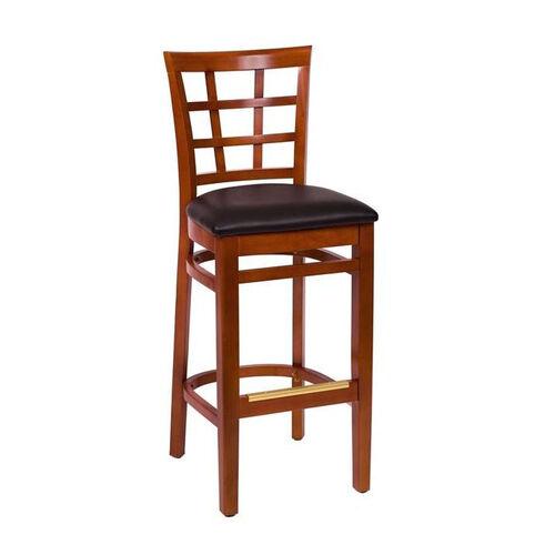 Our Pennington Cherry Wood Window Pane Barstool - Vinyl Seat is on sale now.