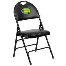 Embroidered HERCULES Series Ultra-Premium Triple Braced Black Vinyl Metal Folding Chair with Easy-Carry Handle