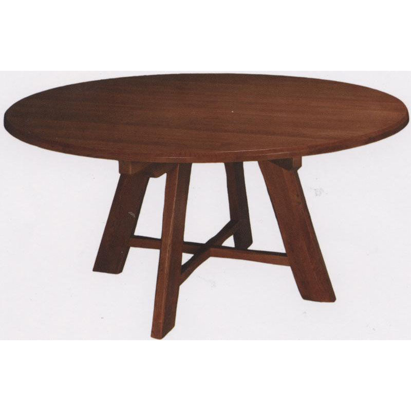 ... Our 1776 Round Wood Trestle Table With Rustic Styling And Self Leveling  Glides Is On