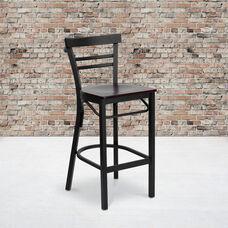 HERCULES Series Black Two-Slat Ladder Back Metal Restaurant Barstool - Mahogany Wood Seat