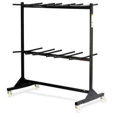64.5'' W x 33.5'' D x 70.25'' H Double Tier Steel Chair Cart - Black