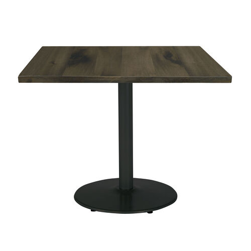 "Urban Loft 30"" Square Vintage Wood Top Table with Round Black Base - Barnwood"