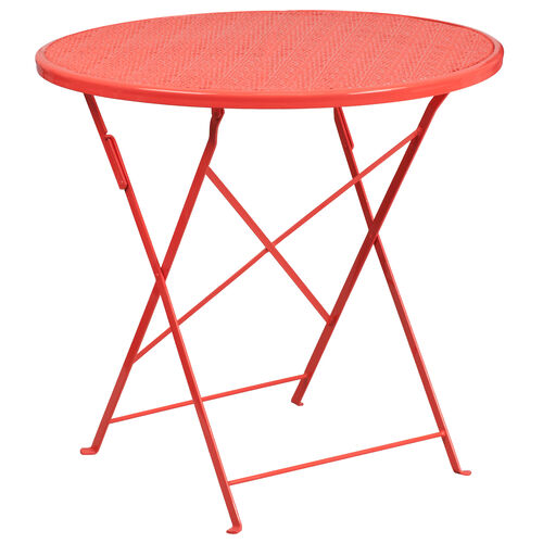 """Our Commercial Grade 30"""" Round Coral Indoor-Outdoor Steel Folding Patio Table is on sale now."""