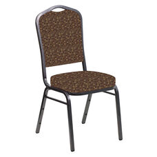 Crown Back Banquet Chair in Empire Amber Fabric - Silver Vein Frame