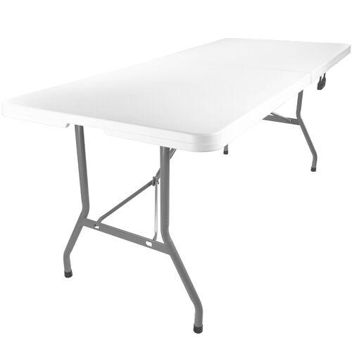 Advantage 6 ft. Bifold Rectangular White Plastic Folding Table
