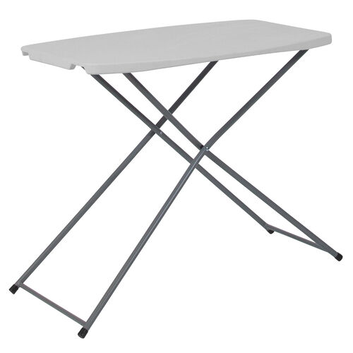 Our 2.5-Foot Height Adjustable Granite White Plastic Folding Table is on sale now.