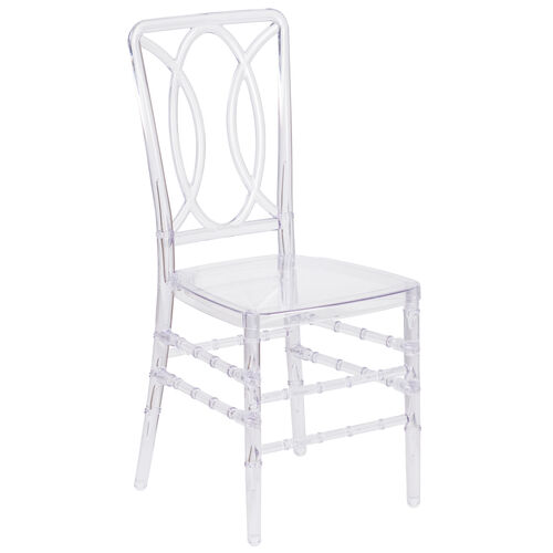 Our Flash Elegance Crystal Ice Stacking Chair with Designer Back is on sale now.