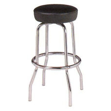 Chrome Single Ring Bar Stool with Round Footrest and Seamless Dome Seat