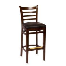 Burlington Walnut Wood Ladder Back Barstool - Vinyl Seat