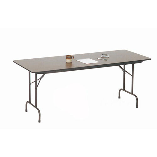 Our Quick Ship Walnut Top Melamine Folding Table with Brown Frame  - 24
