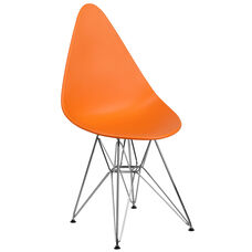 Allegra Series Teardrop Orange Plastic Chair with Chrome Base