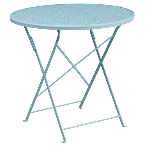 """Our Commercial Grade 30"""" Round Sky Blue Indoor-Outdoor Steel Folding Patio Table is on sale now."""